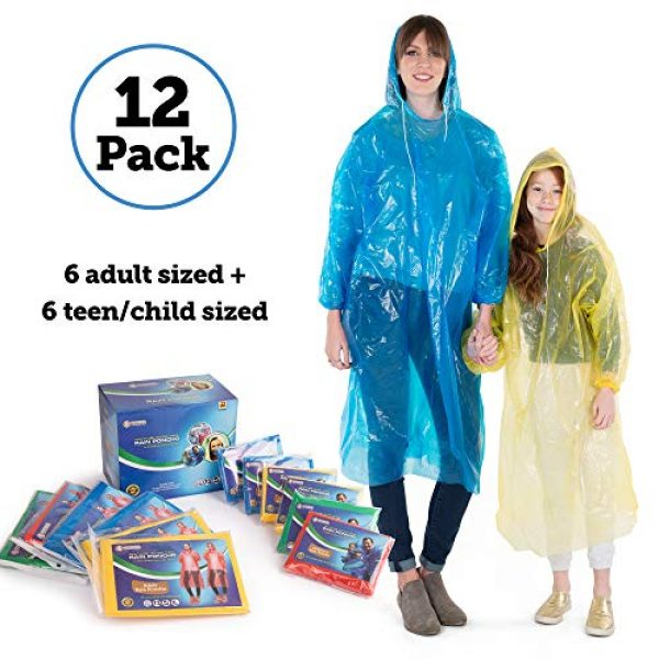 Banana Basics Poncho 1 Banana Basics Extra Thick .03 mm Disposable Rain Ponchos (12-Count Family Pack) 6 Adult, 6 Child Sizes   Travel, Sports, Hiking, Outdoor Emergency Use   100% Waterproof   Compact, Portable  
