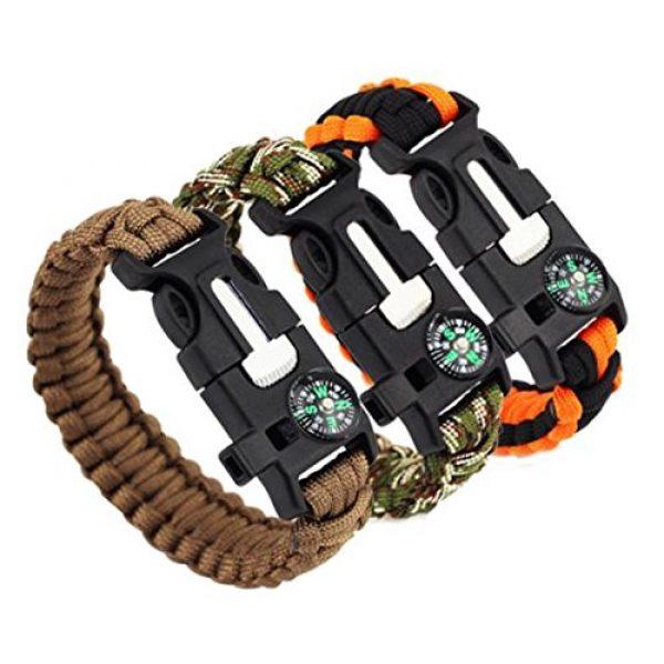 Q4Home Survival Bracelet 4 Q4Home Paracord Survival Bracelet; 5 in 1 Survival Bracelets Kit. Paracord, Fire-Starter Flint, Whistle, Compass, Multi Tactical Tool.