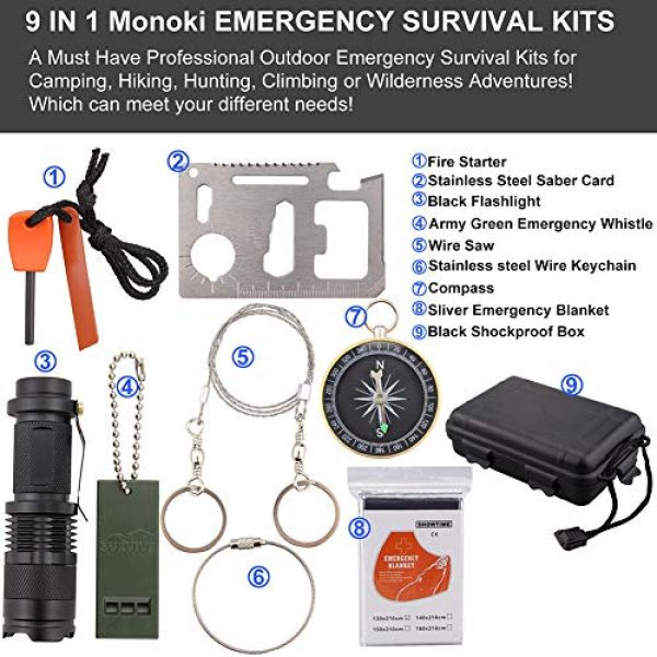 Monoki Survival Kit 7 Emergency Survival Kit, Monoki 9-In-1 Compact Outdoor Survival Gear Kits Portable EDC Emergency Survival Tools Set with Gift Box for Camping Hiking Hunting Climbing Travelling or Wilderness Adventures