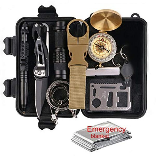 Cowboy Depot Survival Kit 1 Camping Gear Survival Kit: Emergency Survive Tool Wilderness for Men and Women in Cars Hiking tactical Compass flashlight credit card knifes 11-1 multi-tool bottle clip saw tactical pen and more
