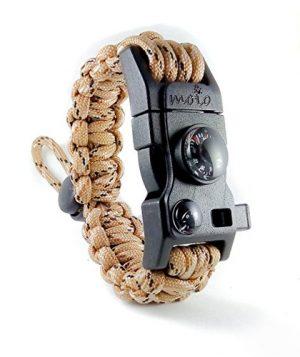 moioOUTDOORS  1 Paracord Bracelet - Survival Bracelet - Men Women Kid Girl - Adjustable - MINI MULTI TOOL CARD - Scrapper - Whistle - Compass - Flint Fire Starter - Fahrenheit Thermometer - Hiking Camping