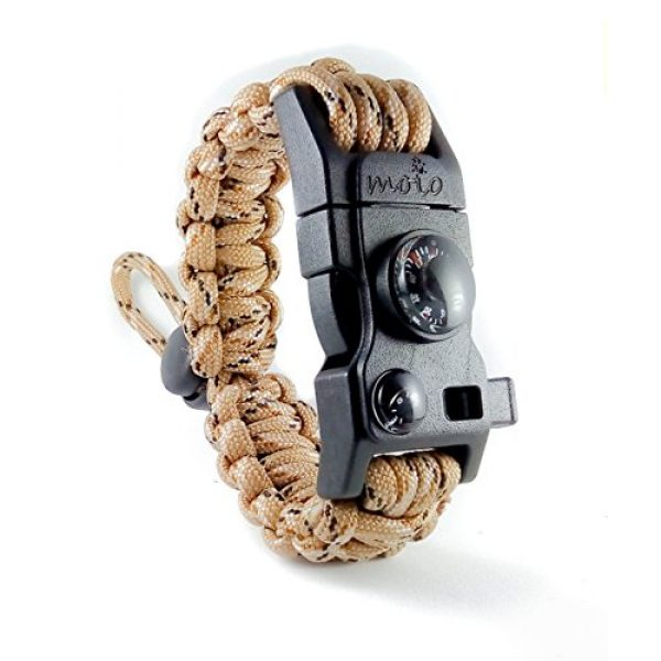 moioOUTDOORS Survival Bracelet 1 Paracord Bracelet - Survival Bracelet - Men Women Kid Girl - Adjustable - MINI MULTI TOOL CARD - Scrapper - Whistle - Compass - Flint Fire Starter - Fahrenheit Thermometer - Hiking Camping