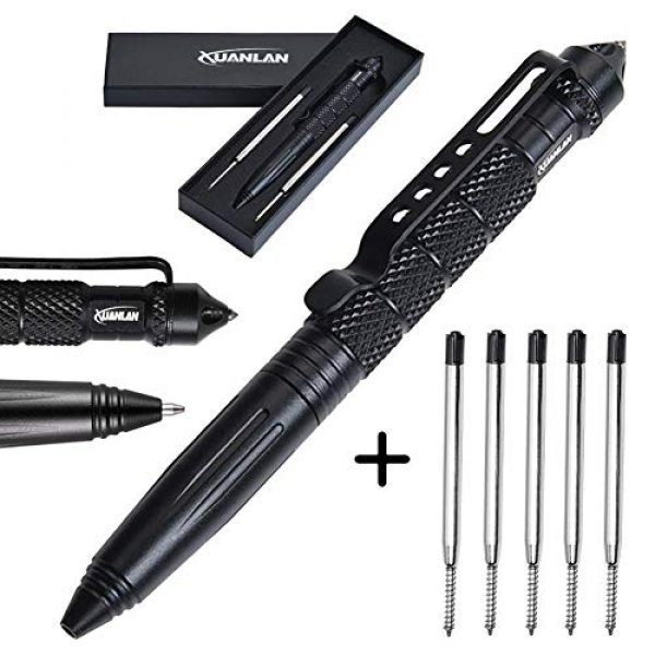 XUANLAN Survival Pen 1 XUANLAN Tactical Pen with 6 Ink Refill, Self Defense Pen with Emergency Glass Breaker Ballpoint, Aircraft Aluminum W/Tungsten Steel Tip EDC Emergency Kit, Survival Gear (1 Pack)