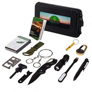 Oak Dweller Survival Kit 1 Oak Dweller Emergency Survival Kit 14 in 1, EDC Survival Gear Tool with Fire Starter, Tactical Pen, Flashlight, for Camping, Hiking, Any Outdoor Adventure or Wilderness, Best Gifts for Men Dad