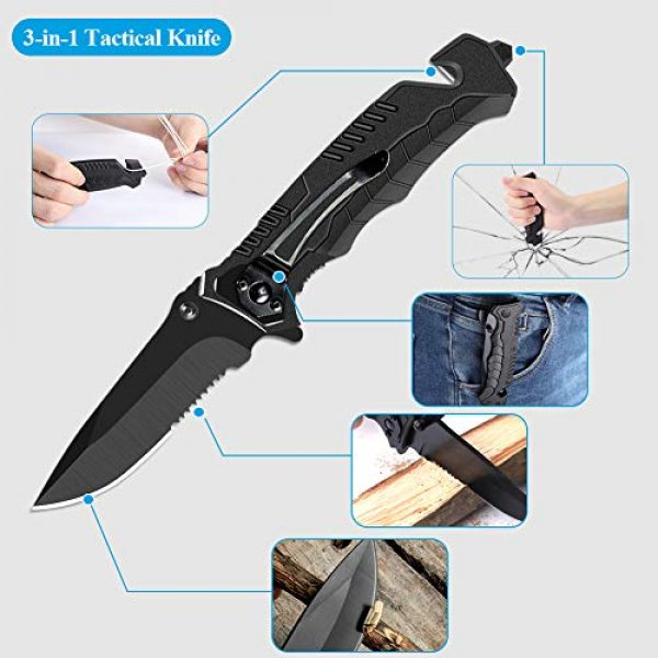 Airand Survival Kit 3 Airand Emergency Survival Kit, 11-in-1 Survival Gear, Birthday Gifts for Men Dad Him, Outdoor Survival Tool with Bracelet, Fire Starter, Tactical Knife Pen Small Flashlight - Ideal for Camping, Hiking