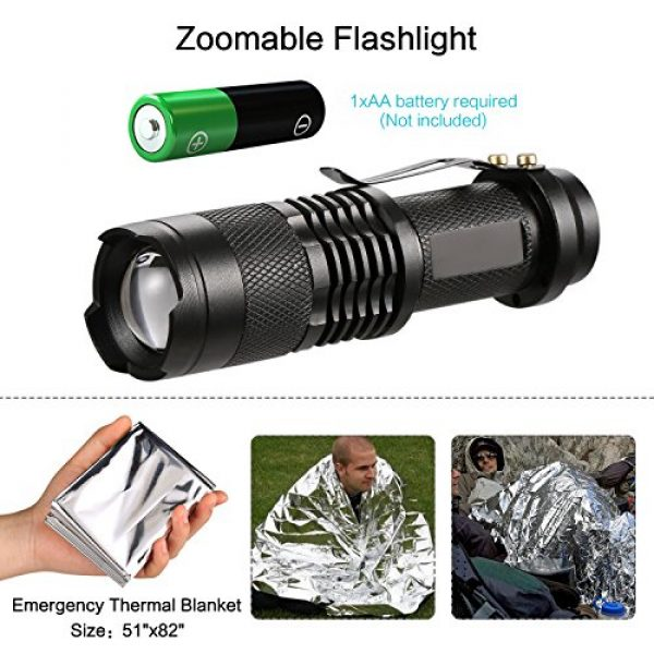 Puhibuox Survival Kit 5 Puhibuox Emergency Survival Kit, 14 in 1 Survival Gear Kit Gift for Men Him, Tactical Defense Equitment Tool for Camping, Hiking, Hunting, Adventure Accessories