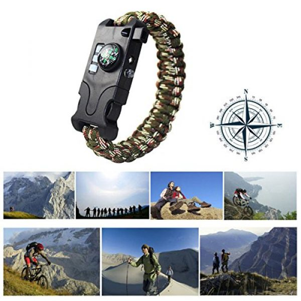 Webeauty Survival Bracelet 7 Webeauty Paracord Survival Bracelet Rechargeable - 1Pc/2Pcs Survival Gear Emergency Kit with LED Flashlight, Compass, Loud Whistle, Laser Infrared for Outdoor, Hiking, Camping and Travelling