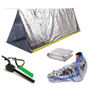 Sportsman Industries Survival Shelter 1 Sportsman Industries Survival Shelter Kit with Free Fire Starter. 4 Piece Mylar Thermal Tent, Blanket and Sleeping Bag is Best for Camping, Hiking, Survival Gear or Your Emergency Kit.