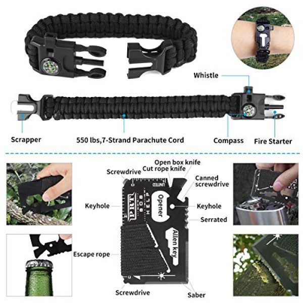 JINAGER Survival Kit 6 Jinager Survival Gear Kits Outdoor Survival Gear Tool for Trip,with Fire Starter, Whistle, Wood Cutter, Tactical Pen for Camping, Hiking, Climbing for Wilderness/Trip/Cars/Hiking/Camping