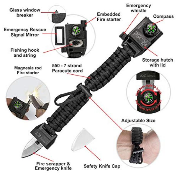 A2S Protection Survival Bracelet 3 A2S Protection PSK Paracord Bracelet 8-in-1 Personal Survival Kit Urban & Outdoors Survival Knife, Fire Starter, Glass Breaker, Survival Whistle, Signal Mirror, Fishing Hook & String, Compass