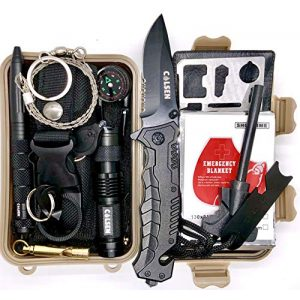 colsen Survival Kit 1 colsen Emergency Survival Kit 13 in 1, Outdoor Survival Gear Tool with Fire Starter, Whistle, Wood Cutter, Water Bottle Clip, Tactical Pen and More