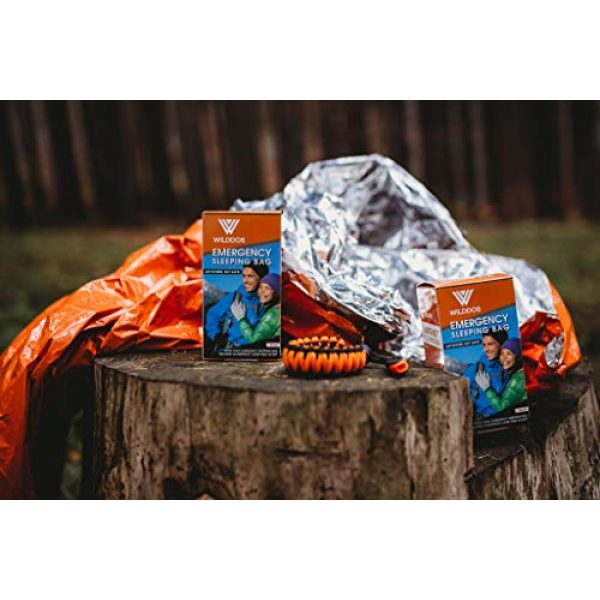 Wilddos Survival Kit 4 Emergency Sleeping Bag - thermal bivy sack in waterproof pouch. Includes thick paracord bracelet and survival whistle. Suitable as Emergencies blanket or Mylar shelter, ideal for survival gear kits.