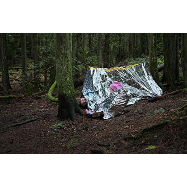 Sportsman Industries Survival Shelter 7 Sportsman Industries Survival Shelter Kit with Free Fire Starter. 4 Piece Mylar Thermal Tent, Blanket and Sleeping Bag is Best for Camping, Hiking, Survival Gear or Your Emergency Kit.