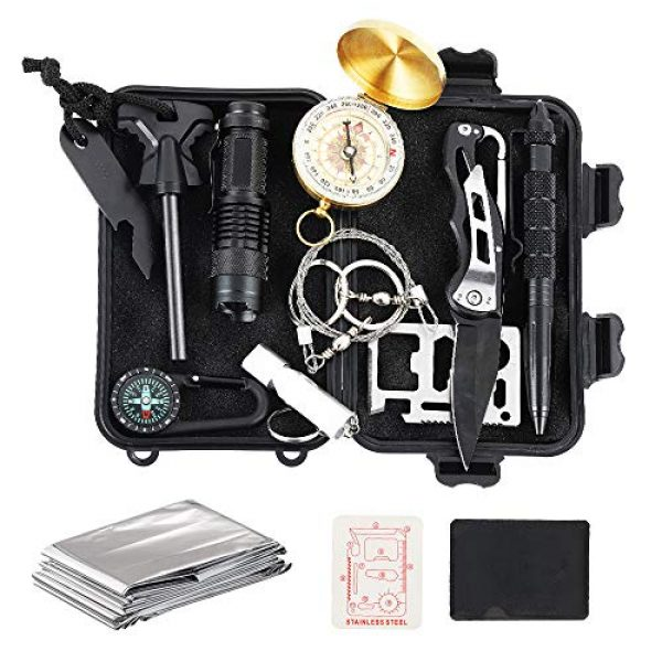 GOGOTIT Survival Kit 1 GOGOTIT 12-in-1 Survival Gear Kits, Outdoor Emergency Survival Gear with Emergency Blanket, Fire Starter, Flashlights for Camping, Hiking, Gifts Ideas for Men, Dad Husband Fathers Day