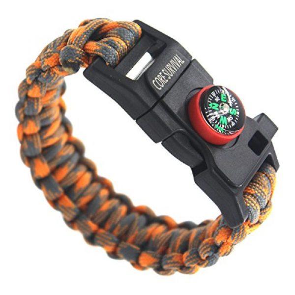 "Core Survival Survival Bracelet 1 Core Survival Paracord Survival Bracelet - Hiking Multi Tool, Emergency Whistle, Compass for Hiking, Camp Fire Starter 5-in1 Set (Orange/Grey, 10.5"" Large)"