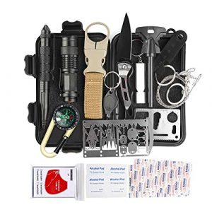 KITPIPI Survival Kit 1 KITPIPI Survival Gear Kit 27 Pieces Outdoor Survival Tool Emergency Camping Gear with Compass Flintstones Saber Card Styptic for Adventure Outdoors Sport Best Gift for Men Boys