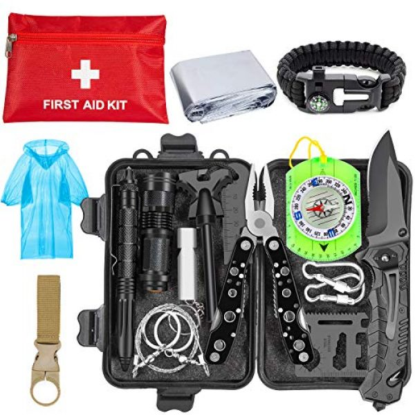 CHAREADA Survival Kit 1 Emergency Survival Kit 37 in 1, Survival Gear Tool Kit SOS Survival Tool Emergency Blanket Tactical Pen Flashlight Pliers Wire Saw for Wilderness Camping Hiking First Aid Survival Kit for Earthquake