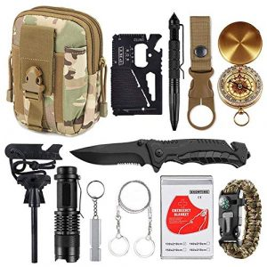 XUANLAN Survival Kit 1 XUANLAN Emergency Survival Kit 13 in 1, Outdoor Survival Gear Tool with Survival Bracelet, Fire Starter, Whistle, Wood Cutter, Water Bottle Clip, Tactical Pen (Survival Kit 4)