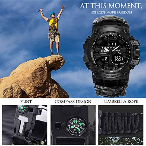 wejie Survival Kit 3 wejie Survival Bracelet Watch, Men and Women Digital Outdoor Sports Watch, 6-in-1 Waterproof Emergency Survival Watches with Paracord, Whistle, Fire Starter, Scraper, Compass and Survival Gear