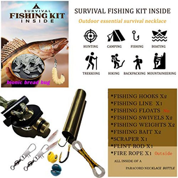 BSGB Survival Kit 6 BSGB Fire Starter Paracord Necklace EDC Military Survival Gear Tinder Cord Firesteel and Striker Kit Magnesium Ferro Rod Tool Fishing Tools for Emergency Outdoor Hiking Camping Hunting