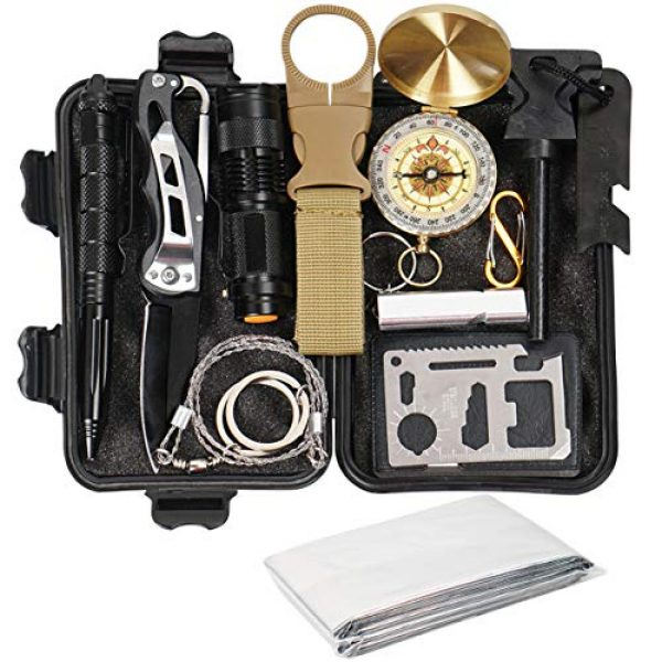 Your Choice Survival Kit 1 Your Choice Emergency Survival Kit 13 in 1, Camping Hunting Gear with Survival Blanket, Fire Starter, Whistle, Tactical Pen, Compass, Flashlight for Car Outdoor Adventures