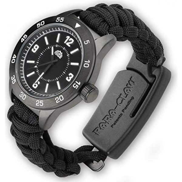 Outdoor Edge Survival Watch 2 Outdoor Edge Zinc ParaClaw CQD Survival Watch with Black Heavy Duty Paracord Bracelet, 1.5 Inch Knife Blade