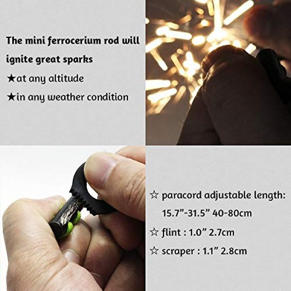 PSKOOK Survival Kit 5 PSKOOK Fire Starter Necklace Survival Gear Firesteel and Striker Kit Paracord Survival Necklace Magnesium Ferro Rod Tool with Tinder Cord