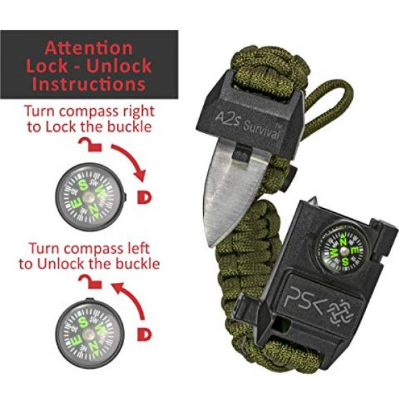 A2S Protection Survival Bracelet 2 A2S Protection PSK Paracord Bracelet 8-in-1 Personal Survival Kit Urban & Outdoors Survival Knife, Fire Starter, Glass Breaker, Survival Whistle, Signal Mirror, Fishing Hook & String, Compass