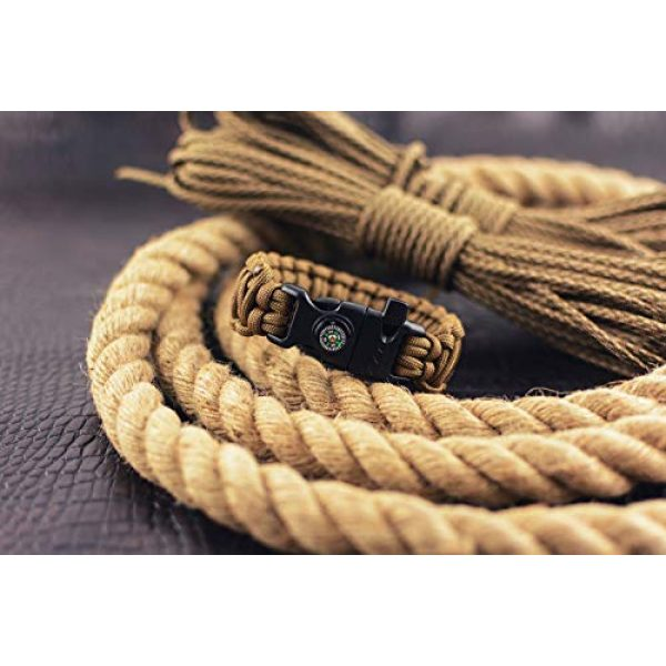Grand Way Survival Bracelet 5 Grand Way Paracord Bracelet kit - Outdoor Survival Bracelet with Compass, Whistle, fire Starter and Scraper - Coyote Brown Tactical Paracord Bracelet - Double Cobra Paracord Bracelet