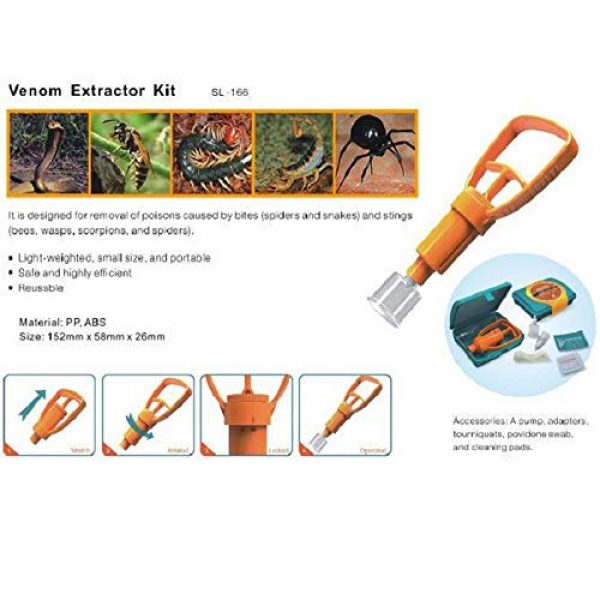 BYBYCD Survival Kit 4 Outdoor Survival Rescue Emergency Safety Tool Venom Extractor First Aid Kit Wild Vipers Bees Biting Venom Vacuum Extractor Pump