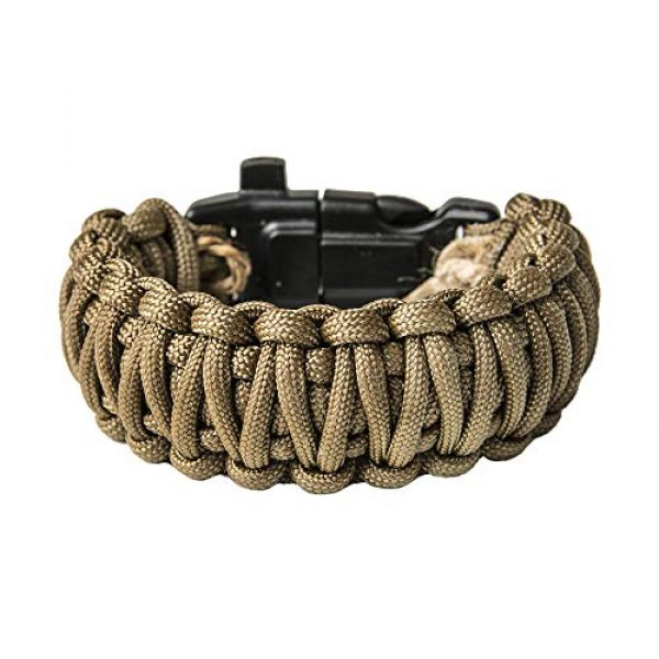 Grand Way Survival Bracelet 1 Grand Way Paracord Bracelet kit - Outdoor Survival Bracelet with Compass, Whistle, fire Starter and Scraper - Coyote Brown Tactical Paracord Bracelet - Double Cobra Paracord Bracelet