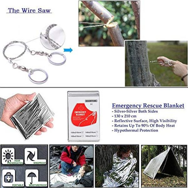XUANLAN Survival Kit 6 XUANLAN Emergency Survival Kit 15 in 1, Outdoor Survival Gear Tool with Survival Bracelet, Fire Starter, Whistle, Wood Cutter, Water Bottle Clip, Tactical Pen