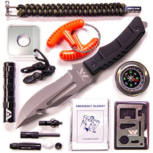 WEYLAND Survival Kit 2 WEYLAND Emergency Survival Kit - Outdoor Survival Gear, Full Size Tactical Bushcraft Knife and Essential Camping and Hiking Tools for Any Outdoorsman