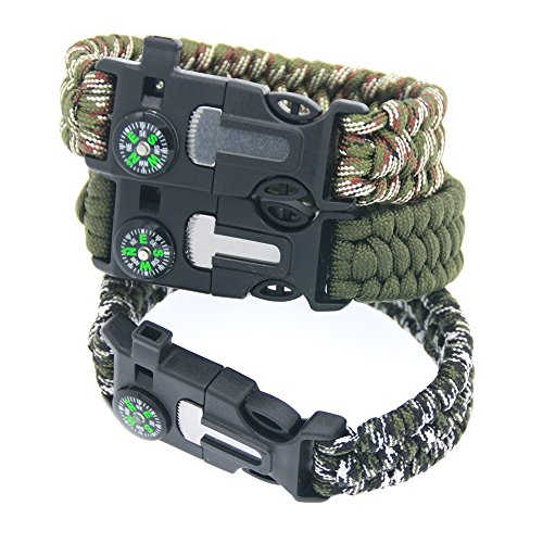 3 Bears  2 3 Bears Outdoor Survival Paracord Bracelet with Compass Fire Starter and Emergency Whistle(Pack of 3)
