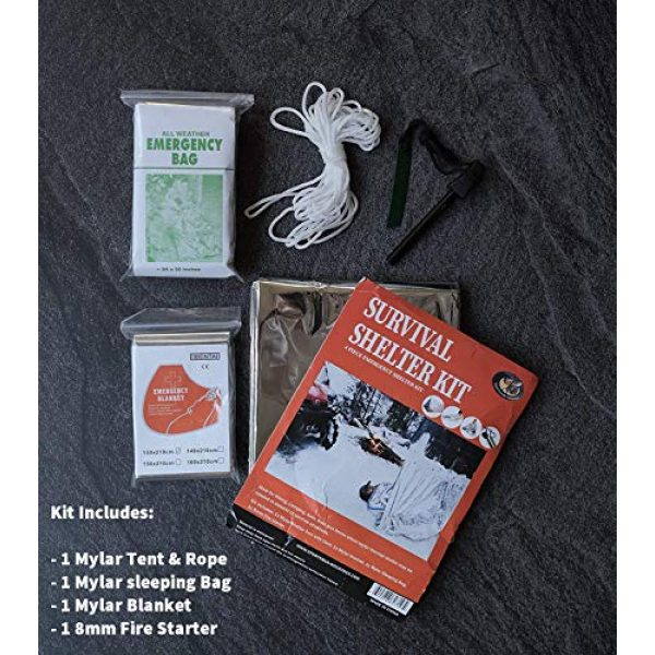Sportsman Industries Survival Shelter 3 Sportsman Industries Survival Shelter Kit with Free Fire Starter. 4 Piece Mylar Thermal Tent, Blanket and Sleeping Bag is Best for Camping, Hiking, Survival Gear or Your Emergency Kit.