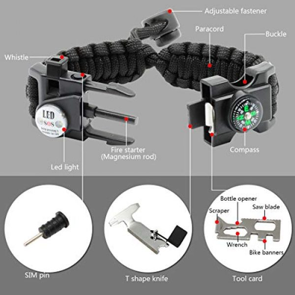LeMotech Survival Kit 3 LeMotech 20 in 1 Adjustable Paracord Survival Bracelet, Tactical Emergency Gear Kit Includes SOS LED Flashlight, Compass, Rescue Whistle and Fire Starter-Outdoor Hiking Camping