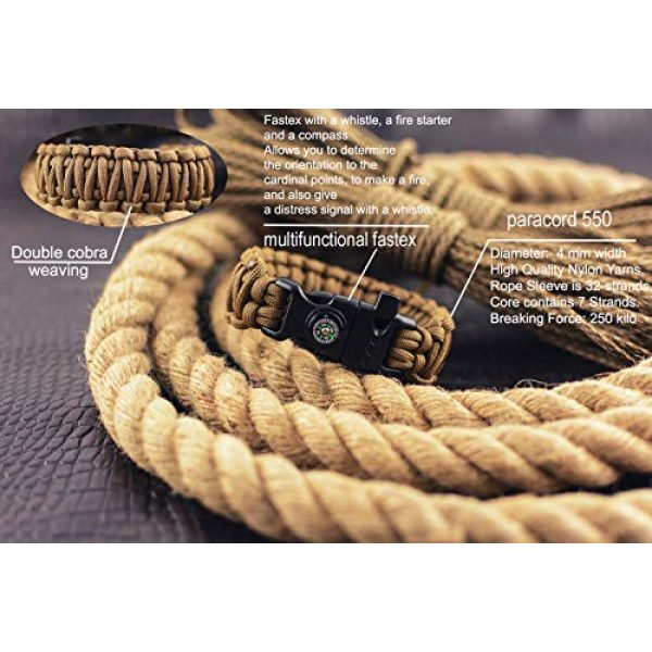 Grand Way Survival Bracelet 6 Grand Way Paracord Bracelet kit - Outdoor Survival Bracelet with Compass, Whistle, fire Starter and Scraper - Coyote Brown Tactical Paracord Bracelet - Double Cobra Paracord Bracelet