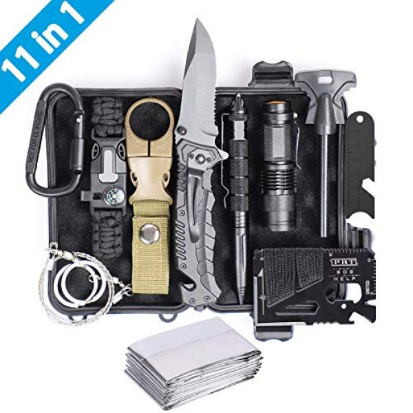 Airand Survival Kit 1 Airand Emergency Survival Kit, 11-in-1 Survival Gear, Birthday Gifts for Men Dad Him, Outdoor Survival Tool with Bracelet, Fire Starter, Tactical Knife Pen Small Flashlight - Ideal for Camping, Hiking