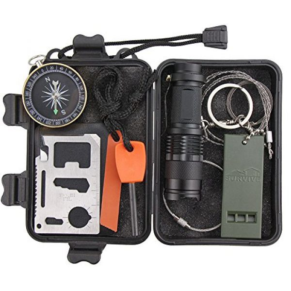 Monoki Survival Kit 2 Emergency Survival Kit, Monoki 9-In-1 Compact Outdoor Survival Gear Kits Portable EDC Emergency Survival Tools Set with Gift Box for Camping Hiking Hunting Climbing Travelling or Wilderness Adventures