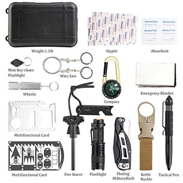 KITPIPI Survival Kit 2 KITPIPI Survival Gear Kit 27 Pieces Outdoor Survival Tool Emergency Camping Gear with Compass Flintstones Saber Card Styptic for Adventure Outdoors Sport Best Gift for Men Boys