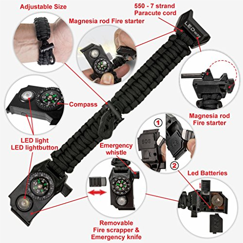 A2S Protection  7 A2S Protection LEDway Paracord Bracelet Tactical Survival Gear Kit 6-IN-1-70% Larger Compass LED SOS Emergency Function Flashlight -Fire Starter Emergency Knife & Whistle