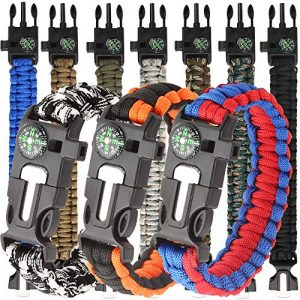 HNYYZL Survival Bracelet 1 HNYYZL 10 Pack Paracord Bracelet Kit Outdoor Survival Bracelet Camping Hiking Gear with Compass, Fire Starter, Whistle and Emergency Knife