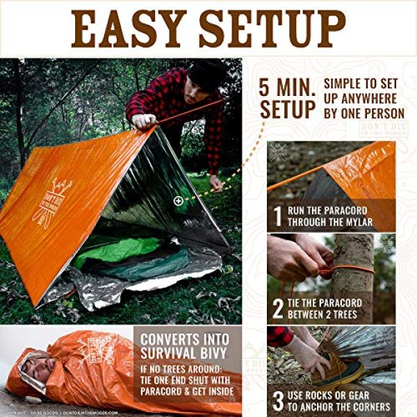 Don't Die In The Woods Survival Kit 4 Don't Die In The Woods World's Toughest Ultralight Survival Tent 2 Person Mylar Emergency Shelter Tube Tent + Paracord Year-Round All Weather Protection for Hiking, Camping, Outdoor Survival Kits