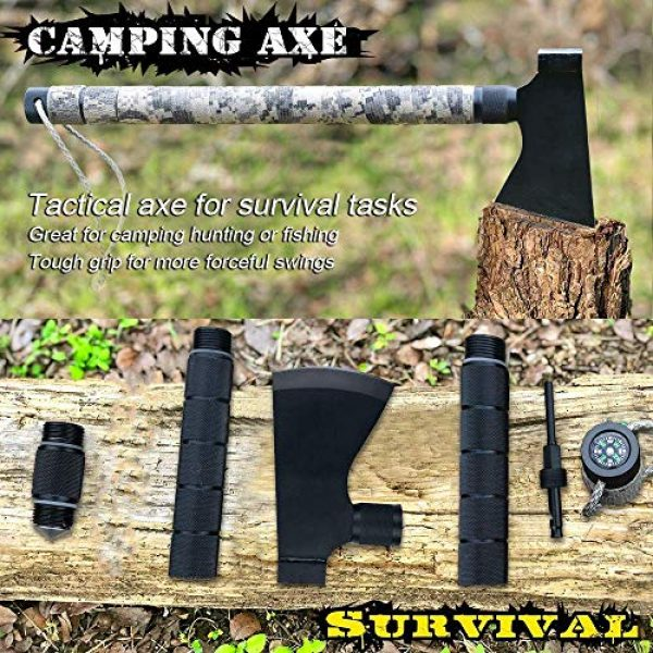 iunio Survival Kit 2 iunio Camping Axe, Hatchet with Sheath, Multi-Tool, Camp Ax, Survival Gear, Folding Portable Tools, for Hiking, Backpacking, Emergency, Hunting, Outdoor (Black)