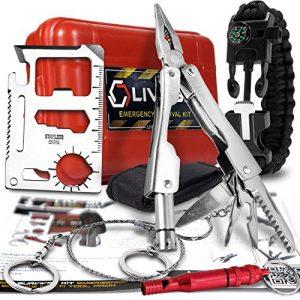 LIVABIT Survival Kit 1 LIVABIT Survival Kit Emergency SOS Survival Multi Tool Pack + Bonus Paracord Bracelet for Camping Hiking Hunting Biking Climbing Traveling and Emergency