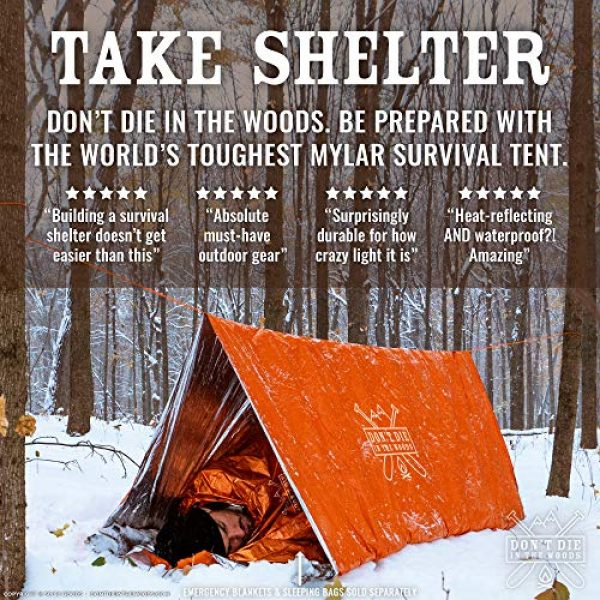 Don't Die In The Woods Survival Kit 2 Don't Die In The Woods World's Toughest Ultralight Survival Tent 2 Person Mylar Emergency Shelter Tube Tent + Paracord Year-Round All Weather Protection for Hiking, Camping, Outdoor Survival Kits