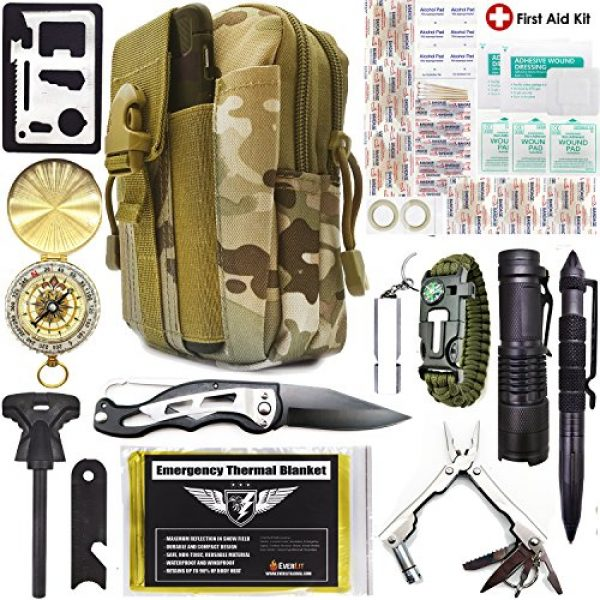 EVERLIT Survival Kit 1 EVERLIT Survival Kit, 80-in-1 Outdoor Gears Tactical Tools Emergency Kit, First Aid Kit, Flashlight, Survival Bracelet, Emergency Blanket, Tactical Pen, for Camping, Hiking, Hunting