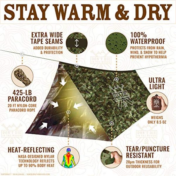 Don't Die In The Woods Survival Kit 3 Don't Die In The Woods World's Toughest Ultralight Survival Tent 2 Person Mylar Emergency Shelter Tube Tent + Paracord Year-Round All Weather Protection for Hiking, Camping, Outdoor Survival Kits