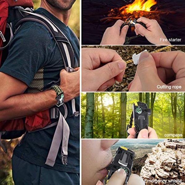 HNYYZL Survival Bracelet 6 HNYYZL 3 Pack Paracord Bracelet Survival- 6 in 1- Adjustable FHNYYZL 3 Pastener, Compass, Fire Starter, 7 Core Rope, Whistle and Emergency Knife, Compact & Portable for Someone Enjoy Camping, Outdoor