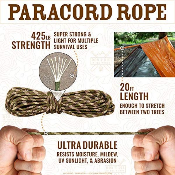 Don't Die In The Woods Survival Kit 7 Don't Die In The Woods World's Toughest Ultralight Survival Tent 2 Person Mylar Emergency Shelter Tube Tent + Paracord Year-Round All Weather Protection for Hiking, Camping, Outdoor Survival Kits